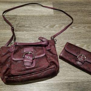 Coach | plum crossbody + wallet